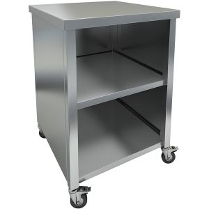 The stainless steel base, closed from 3 sides, has a solid table top and a shelf