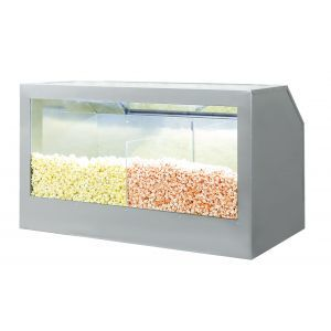 Bulk Popcorn Floor Display Warmer, three compartments, with a lighting