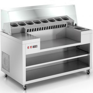 Crepe Station with a cooled well is designed for crepe cooking and distribution