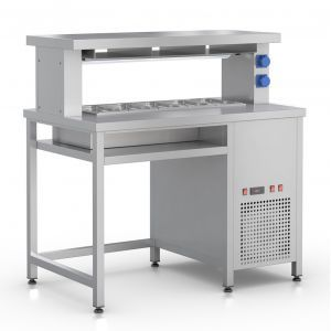 Prepacking Wall Table with a cooled well for 5 GN1/3-100mm and with a heating plate