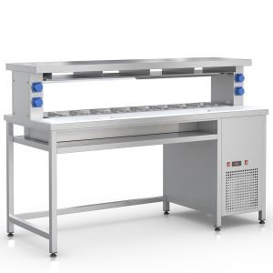Prepacking Wall Table with a cooled well for 9 GN1/3-100mm and with cutting area
