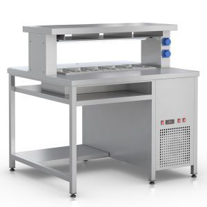 Prepacking Island Table with a cooled well for 5 GN1/3-100mm and with a heating plate