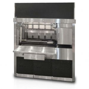 Charcoal Grill for cooking steaks has one compartment, one cooking zone
