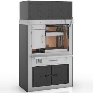 Charcoal Grill for cooking steaks has one compartment, one cooking zone, 1.25m.