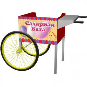 Cotton Candy Cart with two wheels and two supports has a red painted cabinet