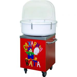 Cotton Candy Cart. The cart cabinet is red painted. A table top is made of stainless steel.