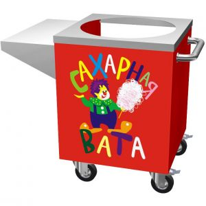 Cotton Candy Cart. The cart cabinet is red painted. A table top is made of stainless steel
