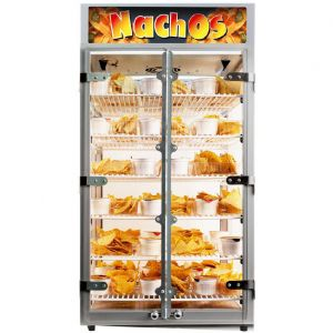 Nacho Display Warmer. Six grid shelves hold up to 36 standard trays with chips and cheese