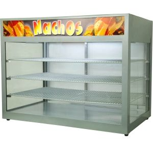 Nacho Display Warmer. Three grid shelves and a bottom hold up to 48 standard trays