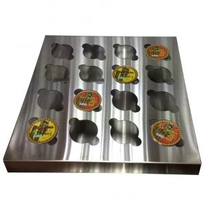 Nacho Cheese Cup Holder is made of stainless steel. The Holder keeps up to 16 portion cheese cups