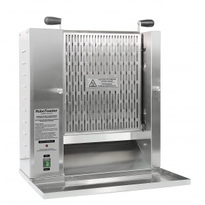 Contact conveying vertical toaster with electromechanical controls