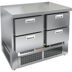 Стол холодильный, GN1/1, L1.00м, без борта, 4 ящика, ножки, -2/+10С, нерж.сталь, дин.охл., агрегат нижний