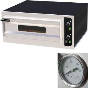 Печь для пиццы электрическая, подовая, 1 камера  700х700х150мм, 4 пиццы D330мм, электромех.управление, дверь стекло, под камень, термометр аналоговый