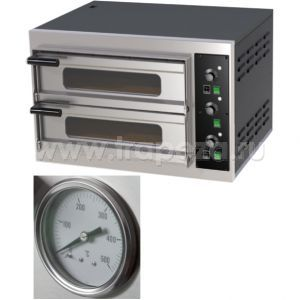 Печь д/пиццы эл., 2 кам.,  8 пицц D250мм или 2 пиццы D500мм, эл.-мех.упр., огн.дно, корпус чёрный, аналоговый термометр