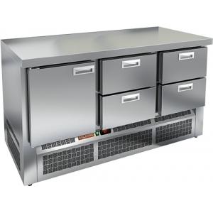 Стол холодильный, GN1/1, L1.49м, без борта, 1 дверь глухая+4 ящика, ножки, -2/+10С, нерж.сталь, дин.охл., агрегат нижний