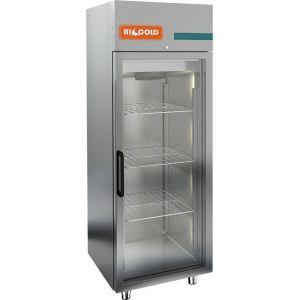 Шкаф холодильный, GN2/1,  700л, 1 дверь стекло, 3 полки, ножки, 0/+10С, дин.охл., нерж.сталь