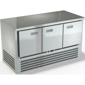 Стол морозильный, GN2/3, L1.49м, без борта, 3 двери глухие, ножки, -10/-18С, нерж.сталь, дин.охл., агрегат нижний