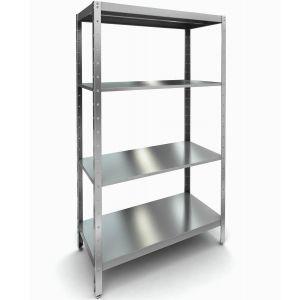 Стеллаж кухонный, 1300х500х2200мм, 4 полки сплошные нерж.сталь 430, разборный, стойки уголок нерж.сталь 430, усиленный