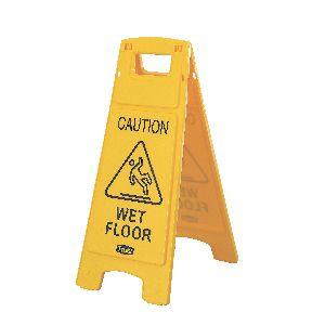 Знак предостерегающий напольный WET FLOOR (Мокрый пол) L 66см w 27,9см h 30,5см, полипропилен желтый