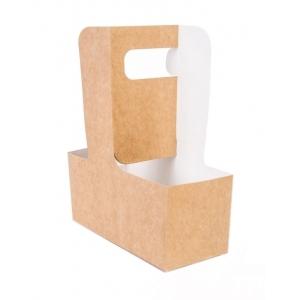 Держатель-сумка для 2-х стаканов L 18см W 8см H 7см картон крафт