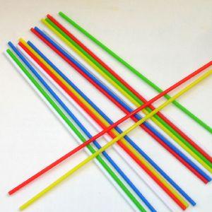 Палочки пластиковые для сахарной ваты, длина 370мм., диаметр 5мм, цветной микс