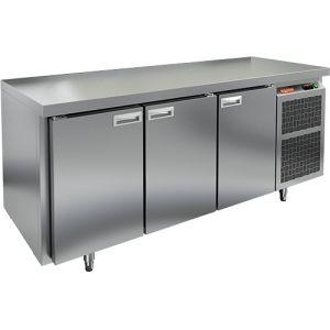 Стол холодильный, GN1/1, L1.84м, без борта, 3 двери глухие, ножки, -2/+10С, нерж.сталь, дин.охл., агрегат справа, усил.столешница