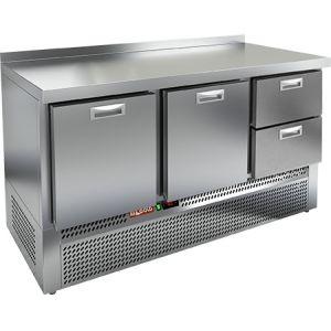 Стол холодильный, GN1/1, L1.49м, борт H50мм, 2 выдв.секции+2 ящика, ножки, -2/+10С, нерж.сталь, дин.охл., агрегат нижний