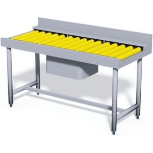 Стол входной, L1.60м, 1 борт, 4 ножки, 1 мойка 500х400х270мм, правый, нерж.сталь, роликовая поверхность, для RX