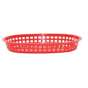 Корзина L 26,5см w 18см h 4см овальная, пластик красный