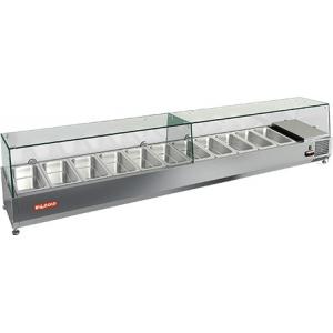 Витрина холодильная настольная, горизонтальная, для топпингов, L2.00м, 9GN1/3, +2/+7С, стат.охл., верхняя структура стекло, ножки