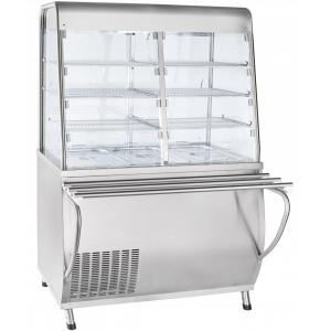 Прилавок-витрина холодильный, l1.12м, ванна охлаждаемая +5/+15с, стенд полузакрытый без двери, нерж.сталь, направляющие  (без оригинальной упаковки) Чувашторгтехника ПВВ(Н)-70Т-С-НШ Премьер