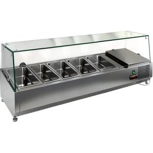 Витрина холодильная настольная, горизонтальная, для топпингов, L1.2м, 4GN1/3+1GN1/4, +2/+7С, стат.охл., верхняя структура стекло, ножки