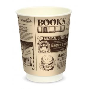 Стакан бумажный для горячих напитков двухслойный MAGIC NEWS 300мл крафт