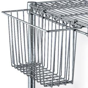 Корзина для стеллажа, 440х190х255мм, подвесная, сталь с покрытием хромоникелевым, для сухих помещений (Некондиция) Metro (США) H212C
