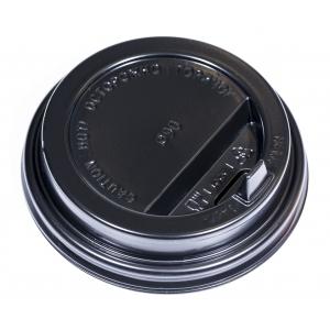 Крышка для стакана 400мл и 300мл D 90мм пластик черный с носиком (новая форма)
