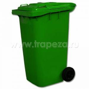 Контейнер для мусора 240л на колесах, пластик зеленый