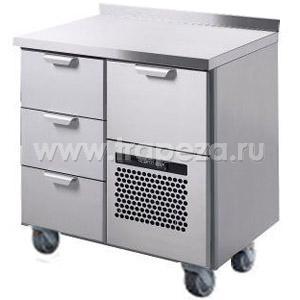Стол холодильный, GN1/1, L0.86м, борт H40мм, 4 выд.секц., ролики, +2/+15С, нерж.сталь, дин.охл., агрегат справа, короб-вст.
