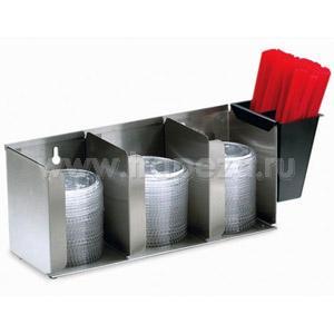 Диспенсер для крышек, настольный/настенный, 3 регулируемые секции, контейнер для трубочек