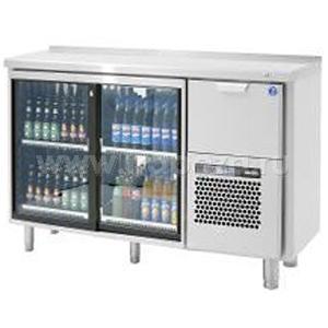 Модуль барный холодильный, 1260х550х850мм, без борта, 2 двери-купе стекло+1 выд.секц., ножки, +5/+15С, нерж.сталь, агрегат справа
