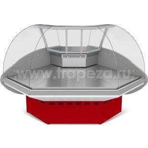 Витрина холодильная напольная, угловая, L1.47м, 0/+7С, дин.охл., красная, 90 град.внеш., стекло фронтальное гнутое
