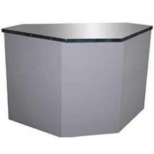 Прилавок нейтральный угловой, L1.41м,  90* внутренний, оцинк.сталь серая