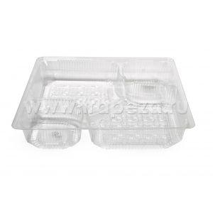 (100шт.) - пластиковый поднос для NACHO на два соуса SL 1199 ИНЛАЙН-Р SL 1199