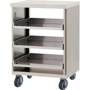 Модуль барный нейтральный для посудомоечных корзин,  600х550х900мм, без борта, полузакрытый без двери, ролики, нерж.сталь
