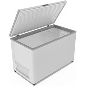 Ларь морозильный, 380л, 1 крышка глухая плоская распашная, -12/-25С, 2 корзины, колеса, белый, R134a