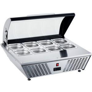 Витрина холодильная настольная, горизонтальная, L0.77м, 8GN1/6, 0/+12С, стат.охл., черная, верхняя крышка стекло гнутое