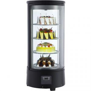 Витрина холодильная настольная, вертикальная, кондитерская, L0.45м, 4 полки, 0/+12С, дин.охл., черная, полки вращающиеся