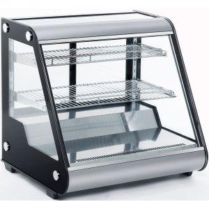 Витрина холодильная настольная, горизонтальная, L0.70м, 2 полки, 0/+12С, дин.охл., нерж.сталь+чёрные боковины, стекло фронтальное прямое