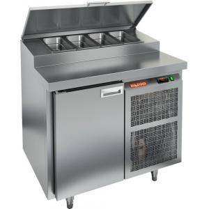 Стол холодильный для пиццы, GN1/1, L0.90м, 1 дверь глухая, ножки, +2/+10С, нерж.сталь, дин.охл., агрегат справа, короб 4GN1/3