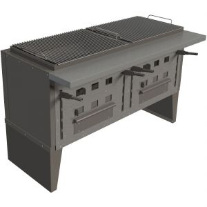 Гриль на углях, 2 решетки 660х520мм, подставка закрытая, сталь, рычаги