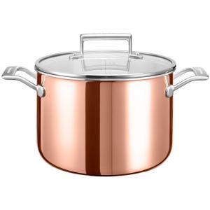 Кастрюля KitchenAid, 7.57л с крышкой (3 Ply Copper), глянц.медь